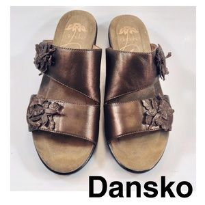 Dansko Bronze Leather Adjustable Velcro Sandals